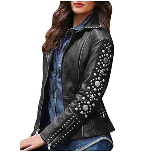 Geilisungren Damen Kunstleder Jacke Motorradjacke Langarm Revers Einfarbige Nieten Jacke Frauen Asymmetrisch Reißverschluss PU Leder Mantel Große Größen Outwear mit Taschen