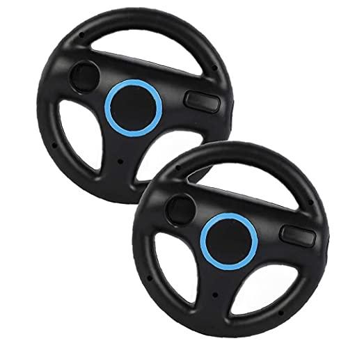 NaiCasy Sillas de Ruedas de Carreras Juego de Carreras del Volante Controlador de Wii Wheel Compatible con el Mando de Wii Juego Negro 2 Piezas