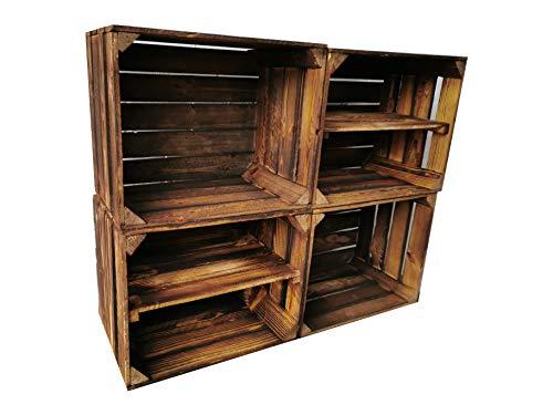 Cassetta per frutta in legno fiammato, 50 x 40 x 30 cm, con fondo intermedio lungo, ideale per la costruzione di mobili