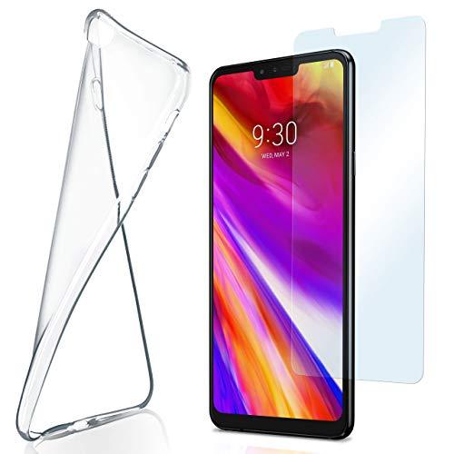 moex Aero Hülle mit Panzerglas für LG V40 ThinQ - Hülle mit Schutzfolie, transparent - Crystal Clear