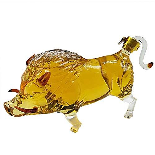 YHCS Máquina de Despertar de Vidrio Premium Botella de Vino Transparente 1000ml, 12 inflador de Vino en Forma de Cerdo Zodiac