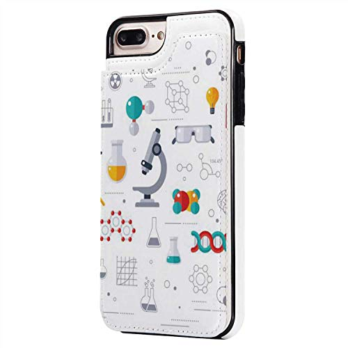 Concept of Education and Science with Microscope Russia,Compatible with iPhone 8 Plus Science Case iPone 7/8 Plus
