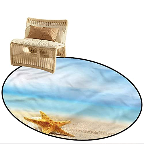 Round Camping Rugs for Outside Starfish Scallop Sea Star Diameter 66 inch Indoor Super Absorbs Doormat