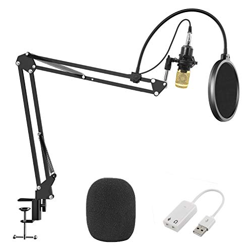 Professional Studio Broadcasting Recording Condenser Microphone, Geekroom Adjustable Recording Microphone Suspension Scissor Arm Stand with Shock Mount and Mounting Clamp Kit