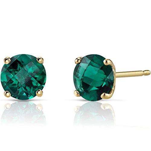 Peora Created Emerald Stud Earrings for Women in 14 Karat Yellow Gold,...