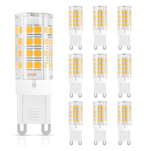 DiCUNO G9 Bombilla LED 4W (40W Bombilla Halógena Equivalente), 450LM, Ahorro de energía, Blanco cálido 3000K, AC100-240V, No-regulables, Base ceramica, 360 Grados ángulo, Paquete de 10