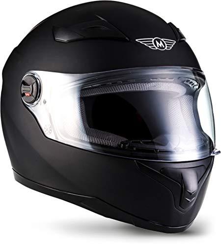 """Moto Helmets® X86 """"Matt Black"""" · Integral-Helm · Full-Face Motorrad-Helm Roller-Helm Scooter-Helm · ECE Visier Schnellverschluss Tasche L (59-60cm)"""