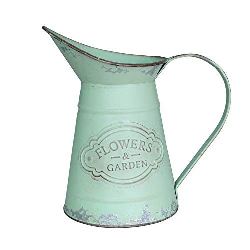 SHINGONE French Rustic Style Small Metal Vase Shabby Chic Pitcher Jug Flower Vase for Home Decoration