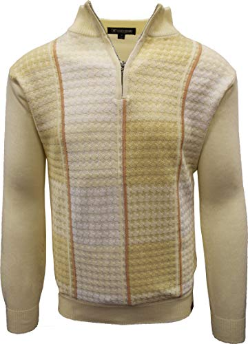 STACY ADAMS Men's Sweater, Multi Square Houndstooth Pattern (4XL, Cream)