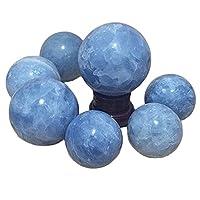 Beautiful crystal ball 50-100ミリメートルの天然セレスチンの石の球の占いエネルギー石のボール写真の装飾された顔料が添加されていないボール (Color : Diameter 75 85mm)