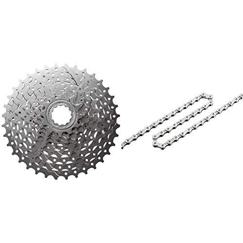 SHIMANO Kassette 9 Fach Silber, 17 x 17 x 6 cm & Fahrradkette Schaltungskette HG 93 mit 114 Glieder 9-Fach, I-CNHG93114I
