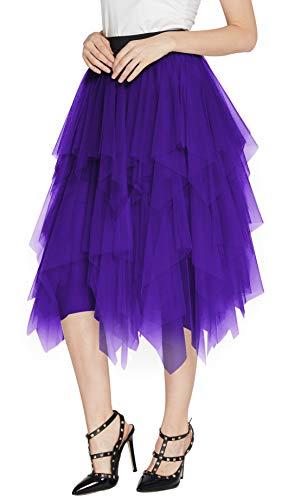 Urban CoCo Women's Sheer Tutu Skirt Tulle Mesh Layered Midi Skirt (L, Deep Purple)
