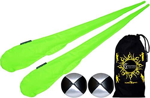 Flames N Games Pro Socken-Poi Set (UV Grun) Sock Poi (inkl. 2X Beanbags Bälle) + Reisetasche. Swinging Poi und Spinning Pois! Pois für Anfänger und Profis.