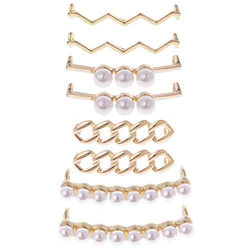 Gurxi 8PCS Fibbia per Lacci Fermagli per Scarpe Decorazioni Charms Perle Finte Strass Scarpe Accessori Regali Decorazione Lacci Delle Scarpe Lacci Del