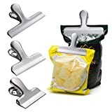 Anasu Chip Bag Clips Set of 6, 2/3/4 inch Wide Stainless Steel Heavy-Duty Chip Clips for Kitchen Office Food Storage Bag Paper Sheets (Silver, S(2 inch))
