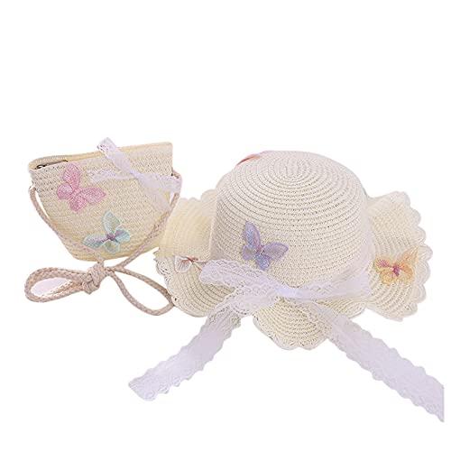 Sombrero infantil para niña, diseño de flor, protección solar, paja para la playa, sombrero para el sol + bolsa de pajita para el exterior, Nº 15, 52/54 cm