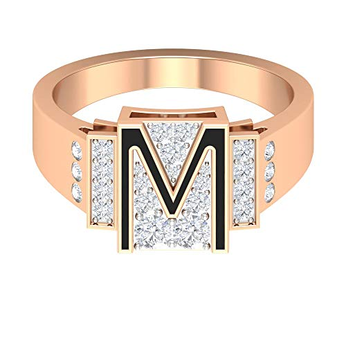 Anello con lettera iniziale, anello dell'alfabeto M, HI-SI, anello nuziale con diamante 0,52 ct, smaltato nero, anello personalizzato per anniversario, 14K Oro rosa, Size:EU 45