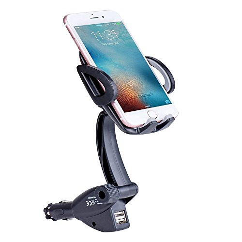 Car Phone Mount Car Phone Holder GPS Car Mount Cell Phone Cradle Mount with Dual USB 3.1A Car Charger Adapter for 3.5-6 Inch Smartphone