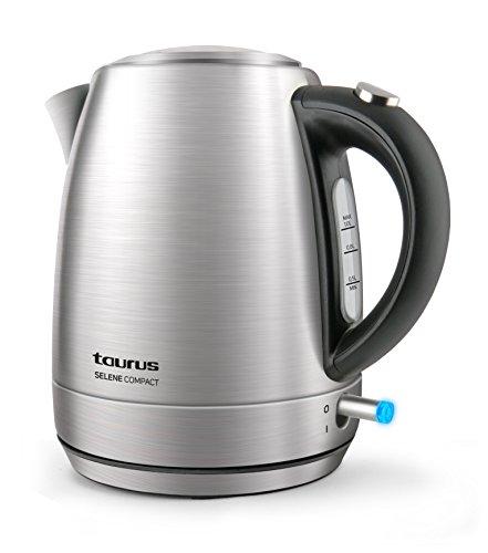 Taurus Selene Compac Hervidor de agua, cuerpo de Inox, 2200 W, 1 liter, Jarra sin cable, Filtro extraible, color plateado