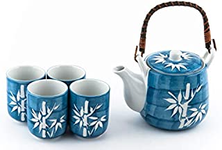 Japanese Asian Lucky Bamboo Blue and White Design Tea Set Ceramic Teapot with Strainer, Rattan Handle and 4 Tea Cups