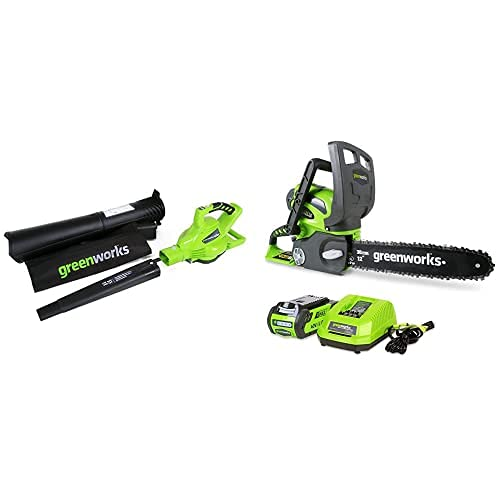 Greenworks 40V Leaf Blower and Chainsaw Combo Kit,2.0Ah Battery and Charger Included