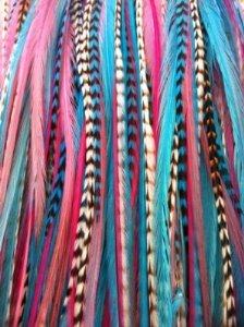 Sexy paillettes cheveux plumes Extension Gorgeous Roses, bleus & Grizzly Remix 15,2 cm 30,4 cm Plumes en silicone pour extension de cheveux avec 2 micro perles et 5 plumes