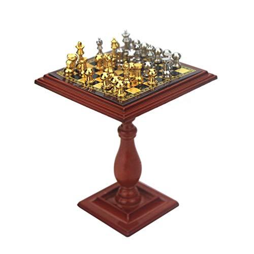 SUPVOX Muebles de casa de muñecas de Madera Mini Tablero de ajedrez Modelo de Soporte para Accesorios para el hogar Paisaje en Miniatura niños Jugar Regalo de Juguete