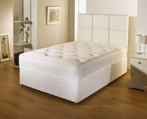 Bed Centre Cooltouch White Divan Bed With 10' Deep Spring Memory Foam Mattress, No Drawers And No Headboard (King (150cm X 200cm))