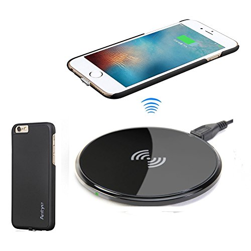Antye Kit Qi caricatore senza fili per iPhone 6/iPhone 6S, compreso flessibile Qi Wireless Charging ricevitore Caso e Qi Wireless Pad ricarica