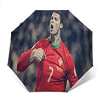 最新の人気の傘 自動開閉式折りたたみ傘 クリスティアーノロナウド ポルトガルサッカー 傘 防風、防水および紫外線抵抗、持ち運びが簡単で、パーソナライズがいっぱい 学校、旅行、買い物、買い物、仕事、クール時代をリードする