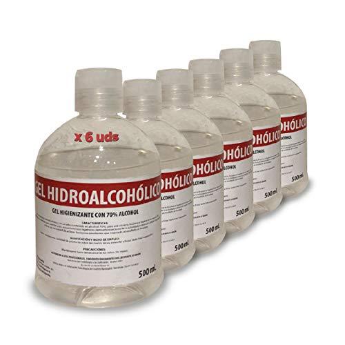 Gel Hidroalcohólico 70% alcohol - 500 ml, 6 Unidades, Fabricado en España