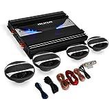 electronic star Set de Sono Auto Black Line 420' - Ampli 4 canaux 2800W, 2 Haut-parleurs 16.5cm (6'), 2 Haut-parleurs 10cm (4') et Set de câbles