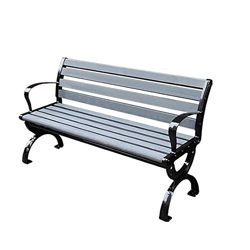 Outdoor Metal Park Bench, Cast Iron Frame and Anticorrosive Wood Garden Bench, Retro Porch Bench with Backrest Armrest, for Patio Lawn Square