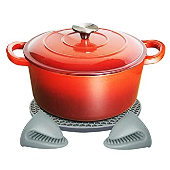 Cast Iron Enameled Dutch Oven - Cast Iron Pots for Bread Baking Simmering Chill storage Stewing  Red 4 Quart