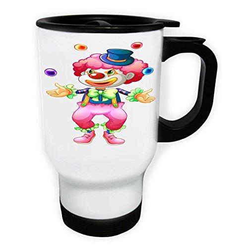 INNOGLEN Clown avec des balles Bande dessinée drôle Tasse de Voyage Thermique Blanche 14oz 400ml g146tw