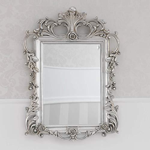 SIMONE GUARRACINO LUXURY DESIGN Specchiera Delphina Stile Barocco Cornice intagliata Foglia Argento Mecca Specchio molato cm 65 x 89