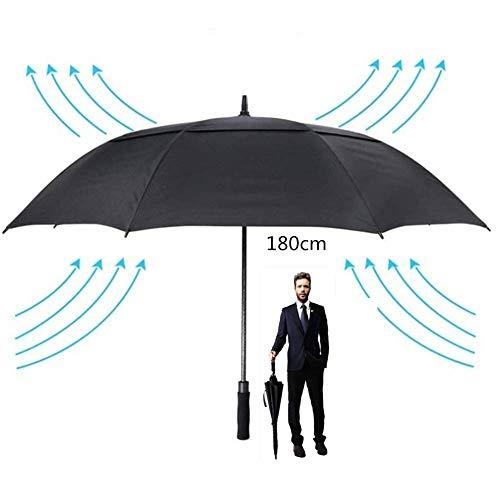 78 Zoll extra großer Golfschirm, Herren Starke Regenschirme Winddicht, Langer Regenschirm Shaft Double Canopy, 180 cm Übergroßer Regenschirm, Schwarz
