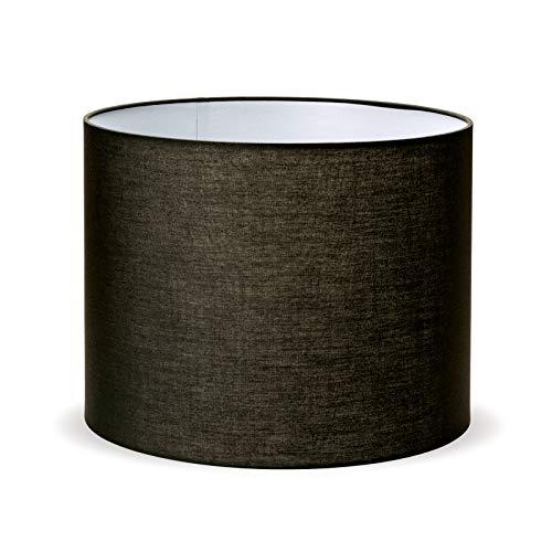 Stoff Lampenschirm 40 cm Aufnahme E27 schwarz Textilschirm Tischlampe Stehlampe Hängelampe rund