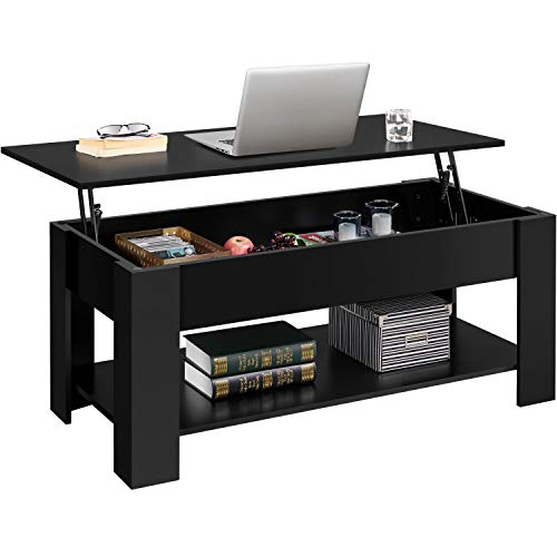 YAHEETECH Lift Top Coffee Table w/Hidden Compartment and Open Storage Shelf for Living Room Reception Room, Pop-Up Center Table, 47.5 L, Black