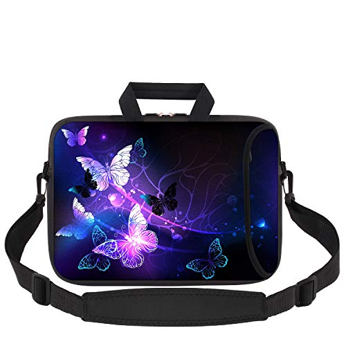 Laptop Bag 14-15.6 inch, iCasso Soft Neoprene Laptop Carrying Case with Adjustable Shoulder Strap Compatible with 15-15.6 inch MacBook Pro, MacBook Air,Notebook Computer, Ultrabook, Purple Butterflies