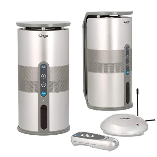 VSG® Funk-Lautsprecher Set mit klangvollen Sound inkl. Fernbedienung (echte 2x5W Sinus/100W PMPO/Plug&Play/IPX3/100m Reichweite) für drinnen & draußen/kabellos & Outdoor