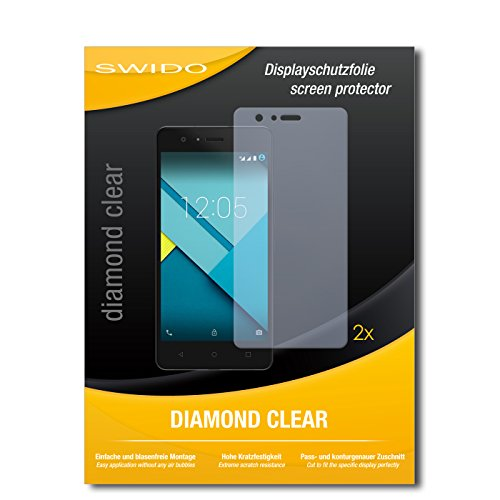 SWIDO 2 x Bildschirmschutzfolie BQ Aquarius M5 Schutzfolie Folie DiamondClear unsichtbar