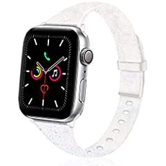 FASHION GLITTER DESIGN: Sparkly Bling silicone Apple Watch bands perfectly design for iWatch 38mm/40mm 42mm/44mm Series 5, Series 4, Series 3, Series 2, Series 1 Sport & Edition Smart Watch. High-quality Apple Watch fitness tracker replacement bands ...