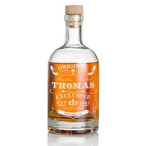 polar-effekt Personalisierte Whisky-Flasche 700 ml mit Gravur - Geschenk für Männer - Whiskey-Karaffe mit Korken - Motiv Original-Exclusive
