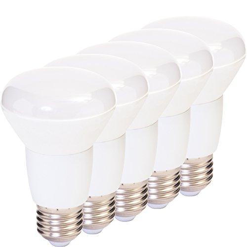 MÜLLER-LICHT 400067 A+, 5er-Set LED Reflektor 6 W ersetzt 40 W, Plastik, 6 w, E27, Weiß, 6.3 x 6.3 x 10 cm