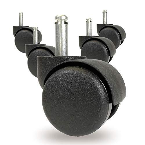 OfficeWorld Range roulettes pour Chaise de Bureau Ø10 mm ou Ø11 mm - Ø 50 mm roulettes pour Tapis, Jeu de 5 roulettes pour Chaise de Bureau, Noir, Taille:Ø 10x20 mm