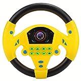 Tnfeeon Juguete de Volante para niños, Volante de simulación de Juguete con luz y Sonido de conducción Juguetes educativos para Infancia(Amarillo)