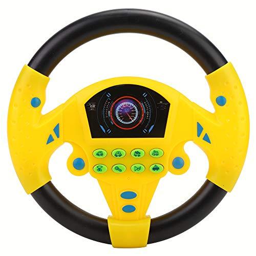 Juguete de volante para niños, Volante de simulación de juguete con luz y sonido de conducción Juguetes educativos para infancia(Amarillo)