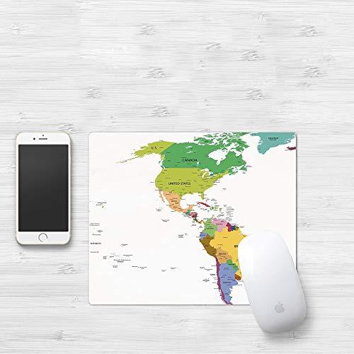 Comfortable Mouse Pad 320x250 mm,Mapa, Mapa de América del Sur y del Norte con Países Ca,Gaming Matte superficie lisa para ratón de goma antideslizantes con Designs para gamer y Office trabajo32x25 cm
