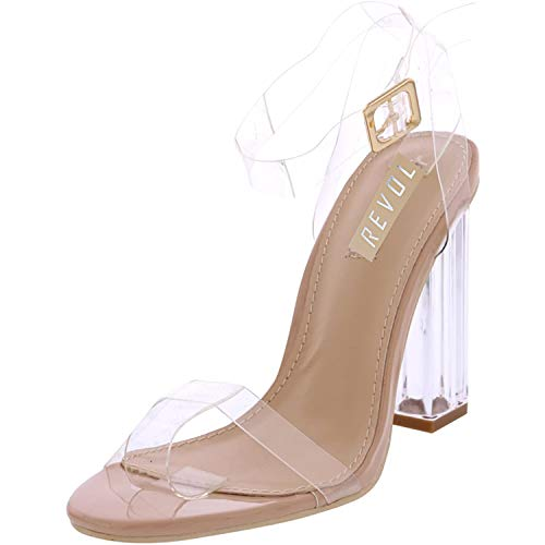 REVOL Maria-2 Clear Chunky Block High Heels for Women, Transparent Strappy Open Toe Shoes Heels for Women (Nude, 11)